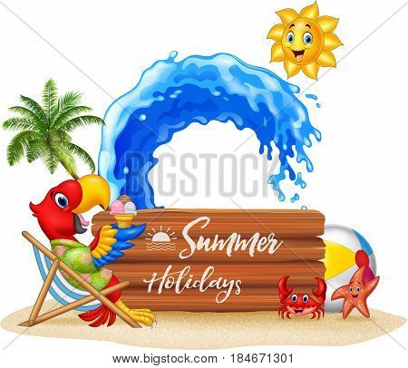 Vector illustration of Summer holidays with macaw relaxing on the beach