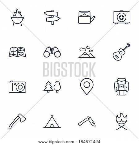 Set Of 16 Camping Outline Icons Set.Collection Of Forest, Teapot, Penknife And Other Elements.
