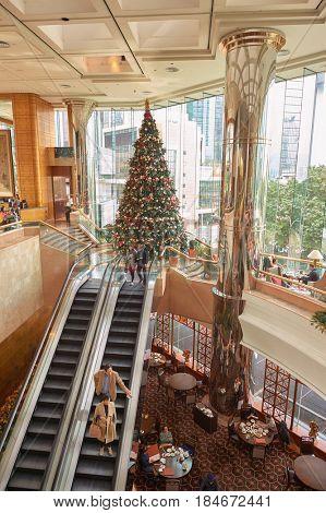 HONG KONG - CIRCA DECEMBER, 2015: The Lounge at the JW Marriott Hotel Hong Kong