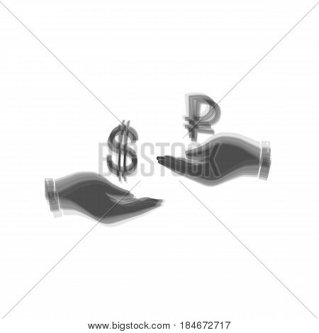 Currency exchange from hand to hand. Dollar and Ruble. Vector. Gray icon shaked at white background.