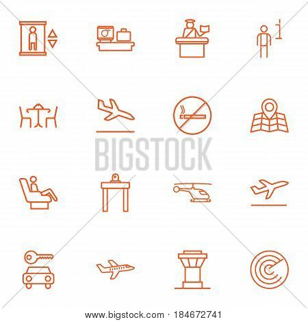 Set Of 16 Land Outline Icons Set.Collection Of Control Tower, Luggage Check, Cafe And Other Elements.