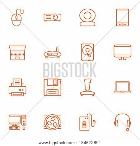 Set Of 16 Notebook Outline Icons Set.Collection Of PC, Web Cam, Gamepad And Other Elements.