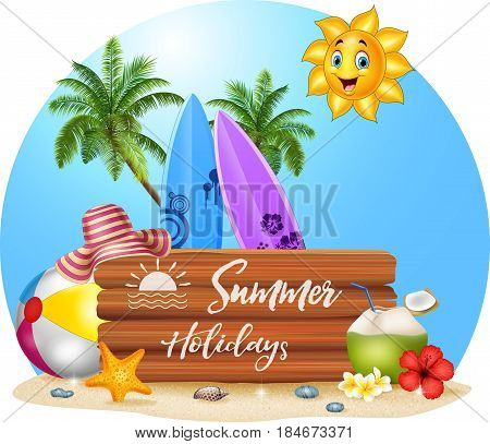 Vector illustration of Summer beach background on blue background