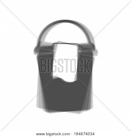Bucket and a rag sign. Vector. Gray icon shaked at white background.