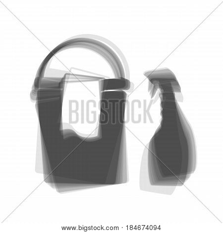 Bucket and a rag with Household chemical bottles. Vector. Gray icon shaked at white background.
