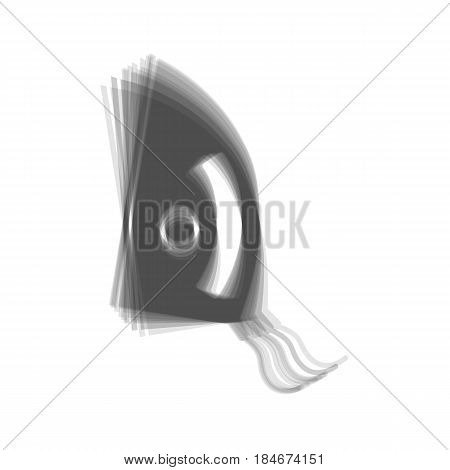 Iron sign. Vector. Gray icon shaked at white background.