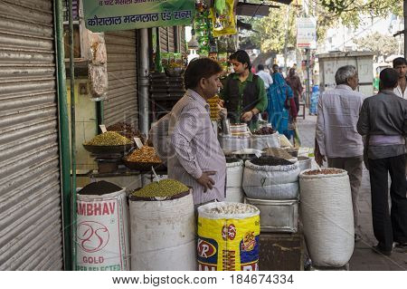 DELHI INDIA - MAR 21 : herb and spice shop at spice market in old delhi. this market is famous and biggest spice market in delhi on march 21 2015 india
