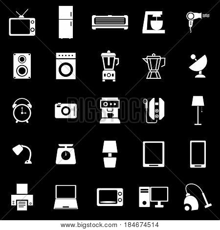 Household icons on black background, stock vector