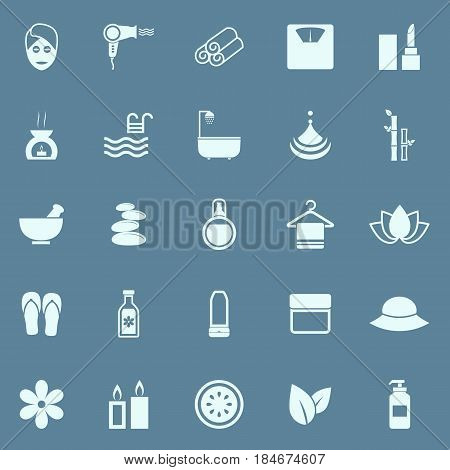 Beauty color icons on blue background, stock vector