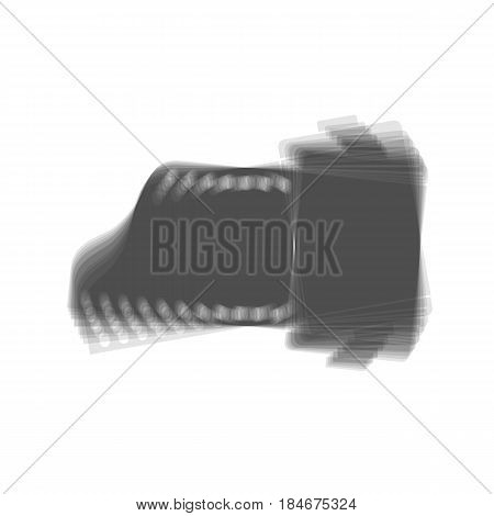 Old photo camera casset sign. Vector. Gray icon shaked at white background.