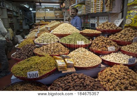 DELHI INDIA - MAR 23: shopfront display herb and spice in spice market at old delhi. this market is famous and biggest spice market in delhi on march 23 2015 india