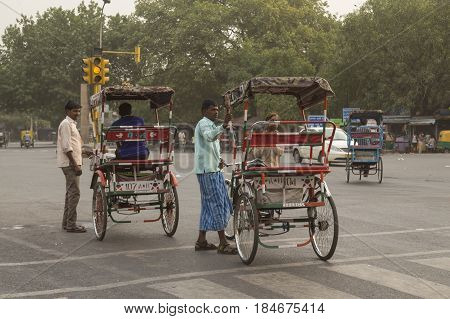 DELHI INDIA - JUN 11 : rickshaw taxi service near ajmeri gate in delhi on june 11 2015 india. rickshaw is most service in any local area of Delhi