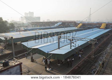 DELHI INDIA - JUN 18 : view of new delhi railway station at platform 2. this station is large station of delhi on june 18 2015 india