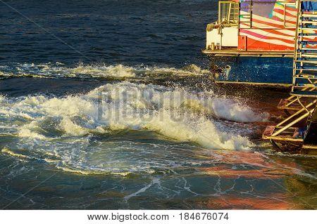 The Manhattan New York. Motor Boat In The Sea