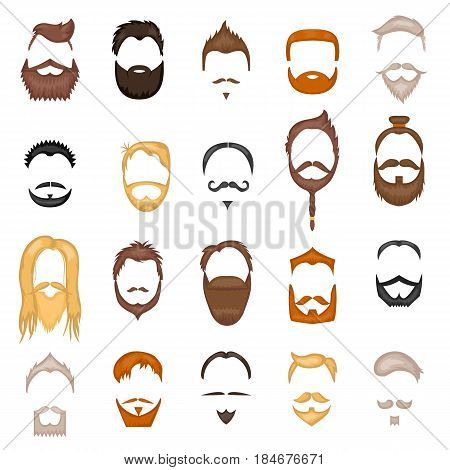 Beard and hair man face mask hairstyle cartoon vector collection illustration isolated on white. Retro design mustache people portrait young character.