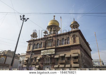 DELHI INDIA - JUL 25 : scene of sisganj gurdwara at chandni chowk in old delhi this temple is famous place of delhi on july 25 2015 india