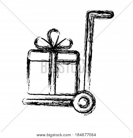 handcart with gift box icon over white  background. vector illustration