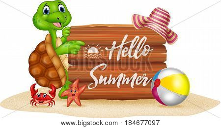 Vector illustration of Summer holiday with cartoon turtle and wooden sign
