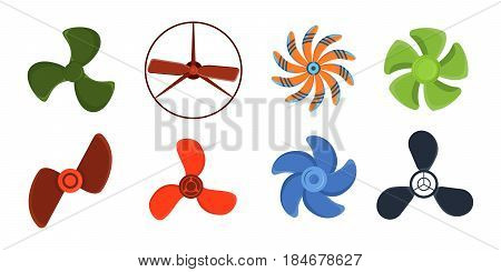 Turbines icon propeller fan rotation technology equipment blade wind ventilator generator vector illustration. Air blower electric industrial ventilators.