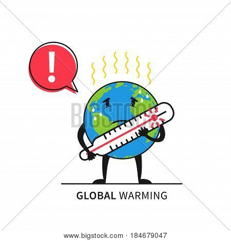 Planet earth with thermometer vector illustration. Global warming concept graphic design. Globe with exclamation warning mark and thermometer creative concept.