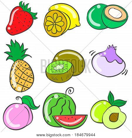 Collection stock of fruit various doodles vector art