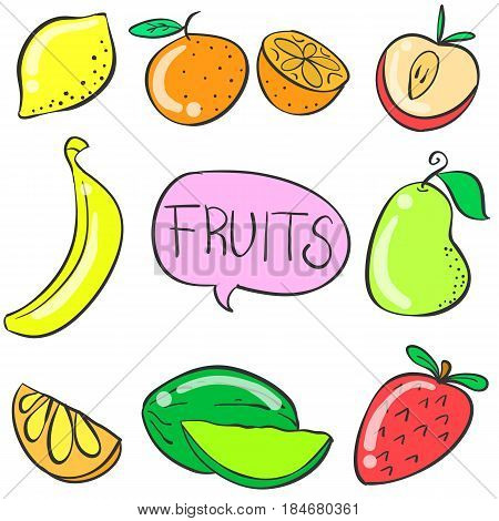 Illustration vector of fruit various doodles collection stock