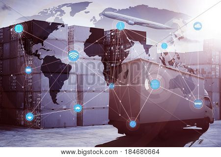Truck and airplane with container cargo for logistic import export concept of smart technology with global logistics partnership and transportation .
