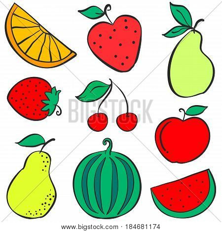 Doodle of fruit various collection stock vector illustration