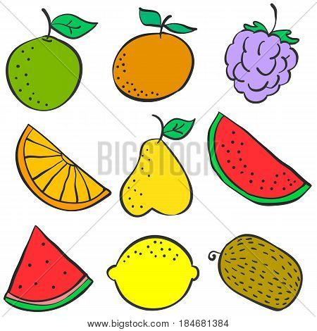 Collection stock of fruit colorful various doodles vector art