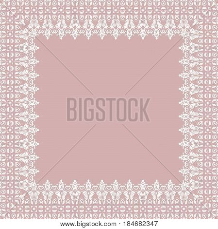 Classic square frame with arabesques and orient elements. Abstract fine purple and white ornament with place for text