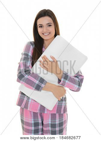 Young beautiful woman with orthopedic pillow on white background. Healthy posture concept