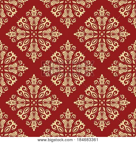 Seamless classic red and golden pattern. Traditional orient ornament