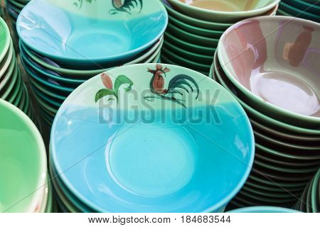 Ceramic cup on a shelf, ceramic products and industry in Thailand