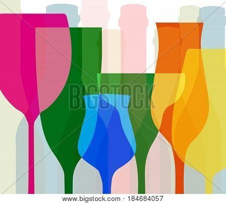 Alcohol vector background..Template for drink card..Wine background vector..Design for wine..Bottle of alcohol illustration..Glasses to alcohol.Suitable for posterpromotional leaflet banner.