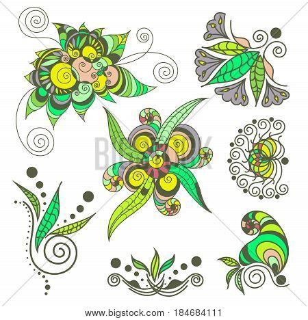 Vector abstract patterns of tattoo henna. Stock mehndi set for design on white background.