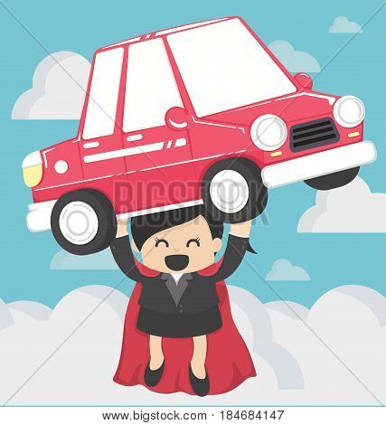 Super Business woman carrying car.Concept Car loans