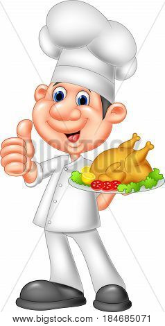 Vector illustration of Chef with roasted chicken