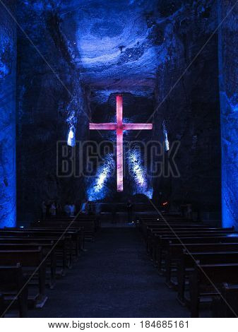 ZIPAQUIRA CUNDINAMARCA COLOMBIA - JANUARY 21 2014: One of the crosses inside the salt cathedral of Zipaquira in Cundinamarca Colombia.