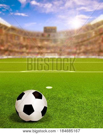 Soccer arena full of fans in the stands with football on field and deliberate sun flare for special effect. Focus on foreground and copy space. 3D rendering.