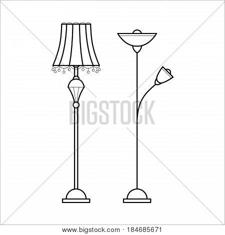 Floor lamps for house. Retro and modern chandeliers. Flat vector icon in simple outline style. Interior element for house decoration. Black thin linear illustration isolated on white background.
