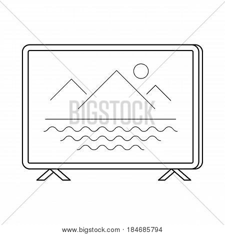 TV set line art, simple gadget icon for web application, outline vector pictogram isolated on a white background, television screen, standing flat-panel model