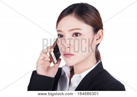 Business Woman Talking On Smartphone Isolated On White