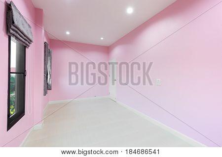Empty Pink Room With Door And Window