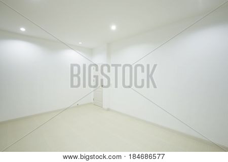 Empty White Room With Door