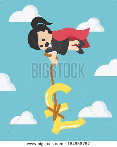 Super Business Woman pulling silver pound symbol