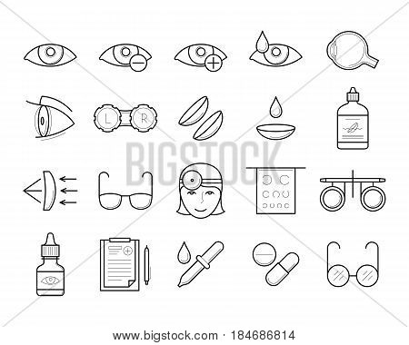 Ophthalmology icons in thin line style: trial frame, ophtalmologist, contact lens case, drops treatment, glasses eyeball, prescription. Eyesight medical diagnostic, vision correction. Vector outline