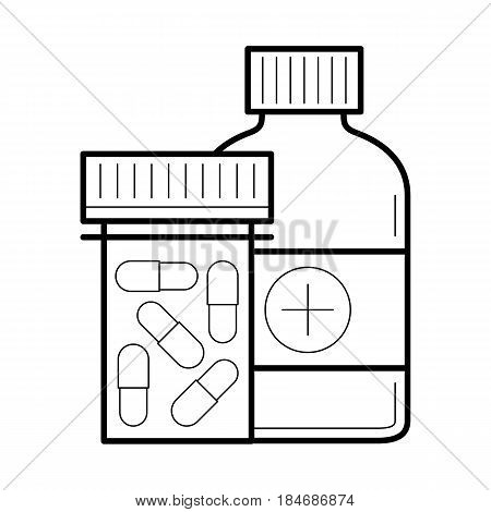 Icon with capsule in bottle and container. Painkiller pills or medical drug for health, treatment in linear style. Medicine or pharmacy. Vector medicament outline illustrations isolated on white
