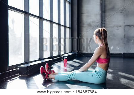 Fitness Athlete Woman Drinking Water After Training Work Out Exercising.