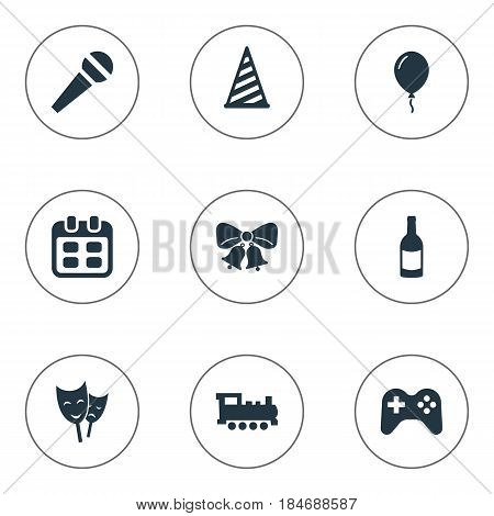 Vector Illustration Set Of Simple Holiday Icons. Elements Aerostat, Train, Mask And Other Synonyms Jingle, Bells And Schedule.