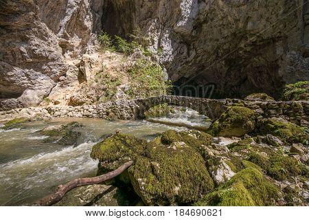 Scenic underground karst river Rak in national park Rakov Skocjan in Slovenia
